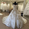 Vestidos de noiva Luxury Wedding Dresses Gold Lace Appliques Bride Dresses 2017 Vestido de Casamento