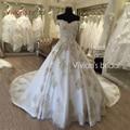 Vestidos de noiva de Luxo Vestidos de Casamento Do Laço Do Ouro Apliques Vestidos de Noiva 2017 Vestido de Casamento