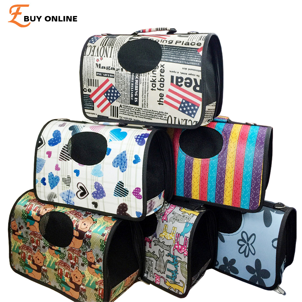 2016 Petcircle New Folding Printing Pet Carrier Carrying Cat Dog Carry Hand Tote Bag Travel Portable Puppy Backpack Flight Case