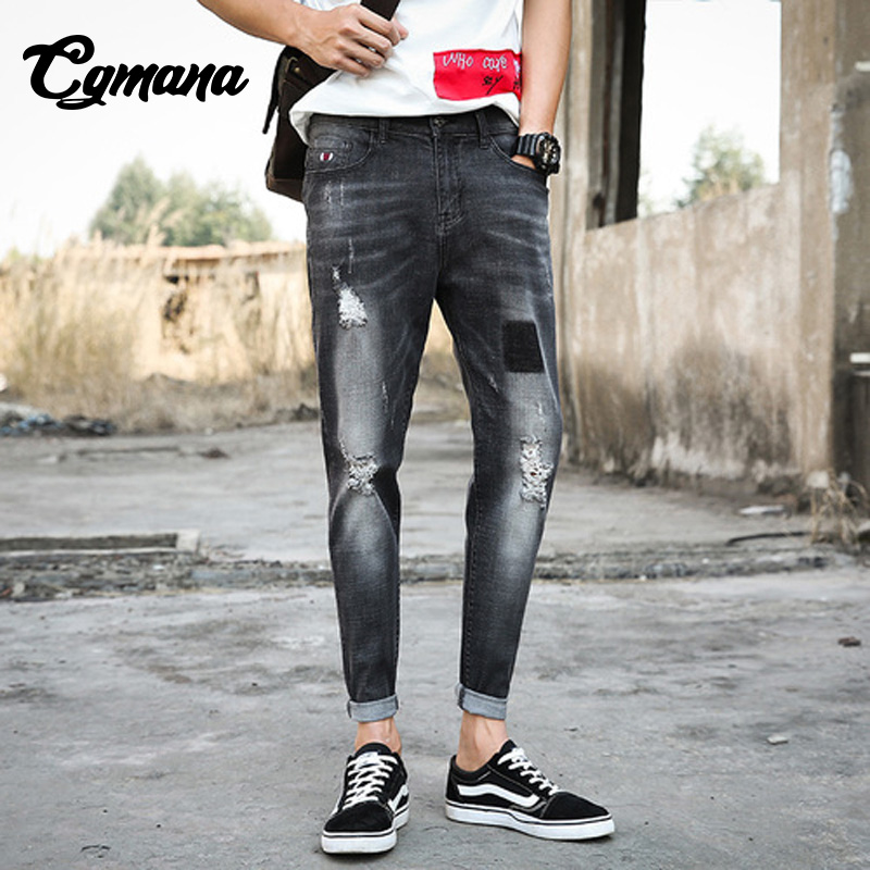 CGmana Mens Jeans Black Street Do Old Holes Slim Jeans Destroyed Ripped Design Mens Slim Fit Straight Washed Joggers Trousers
