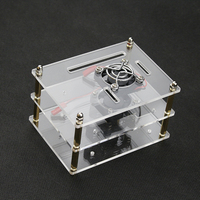 Raspberry Pi 2 Layer Transparent Acrylic Case Clear Shell 2 Pcs Cooling Fan For Raspberry Pi