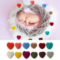 Newborn Photography Felt Love Shape Props Tiny Baby Girl Boy Photo Shoot Handmade Felt Heart Shaped Props
