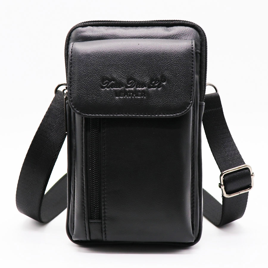 Brand Cowhide Leather 7' Casual Cell/Phone Punch Case Men's Mini Shoulder Bags Male Cross Body Messenger Bag Belt Waist Pack brand genuine leather 9 casual travel bag men s cross body shoulder bag male cowhide messenger bags belt waist pack case