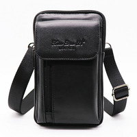 Brand Cowhide Leather 7' Casual Cell/Phone Punch Case Men's Mini Shoulder Bags Male Cross Body Messenger Bag Belt Waist Pack