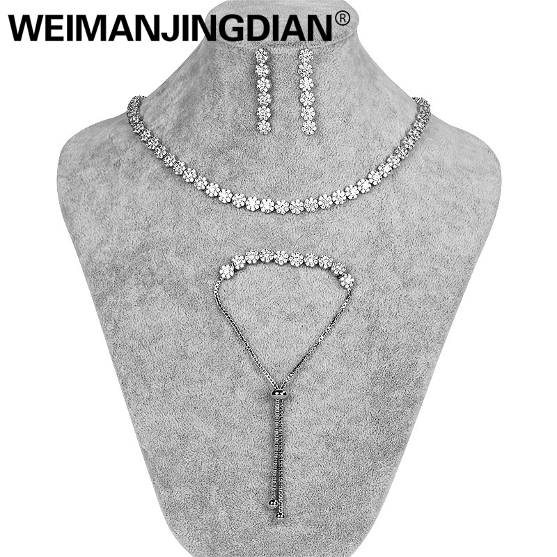 WEIMANJINGDIAN Brand Small Flower Design Clear Cubic Zirconia Tennis Collar Necklace Earring and Bracelets Wedding Jewelry Set weimanjingdian sparkling cubic zirconia crystal flower design pull string zirconium wedding bracelets for girls or wedding