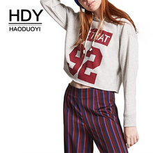 HDY Haoduoyi Women Casual Letter Number Print Hooded Sweatshirt Loose Street Style Long Sleeve Crop Top Gray Sweatshirt цена и фото