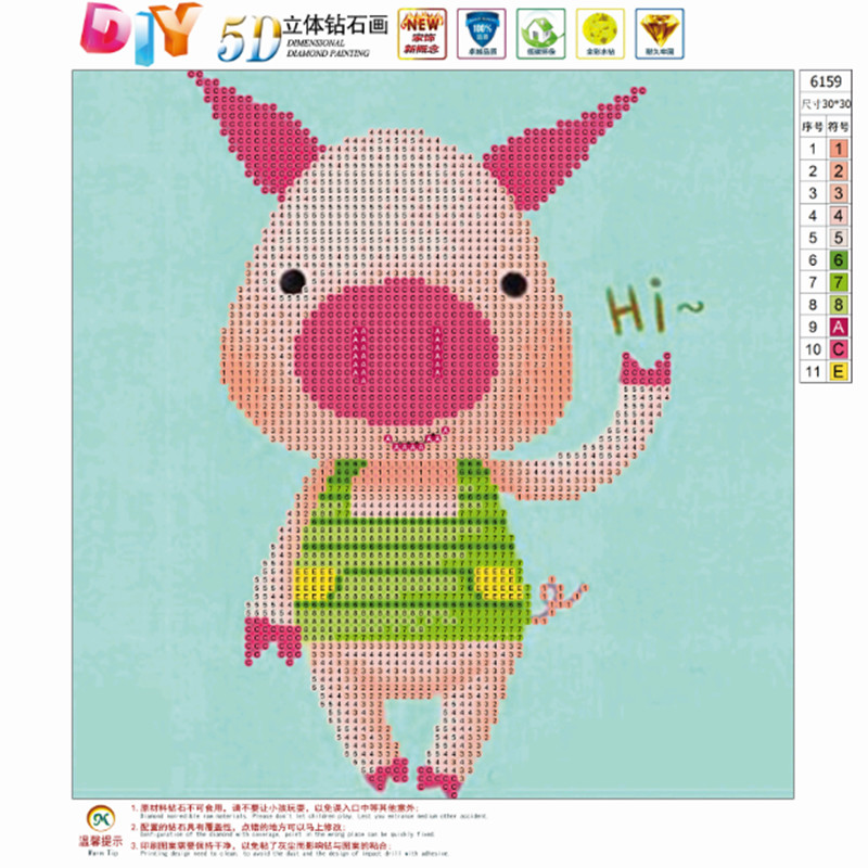 FineTime DIY 5D Diamond Diamond Painting Cartoon Pig 5D Embroidery Cross stitch Mosaic Round Rhinestone Home Decoration Gift in Diamond Painting Cross Stitch from Home Garden