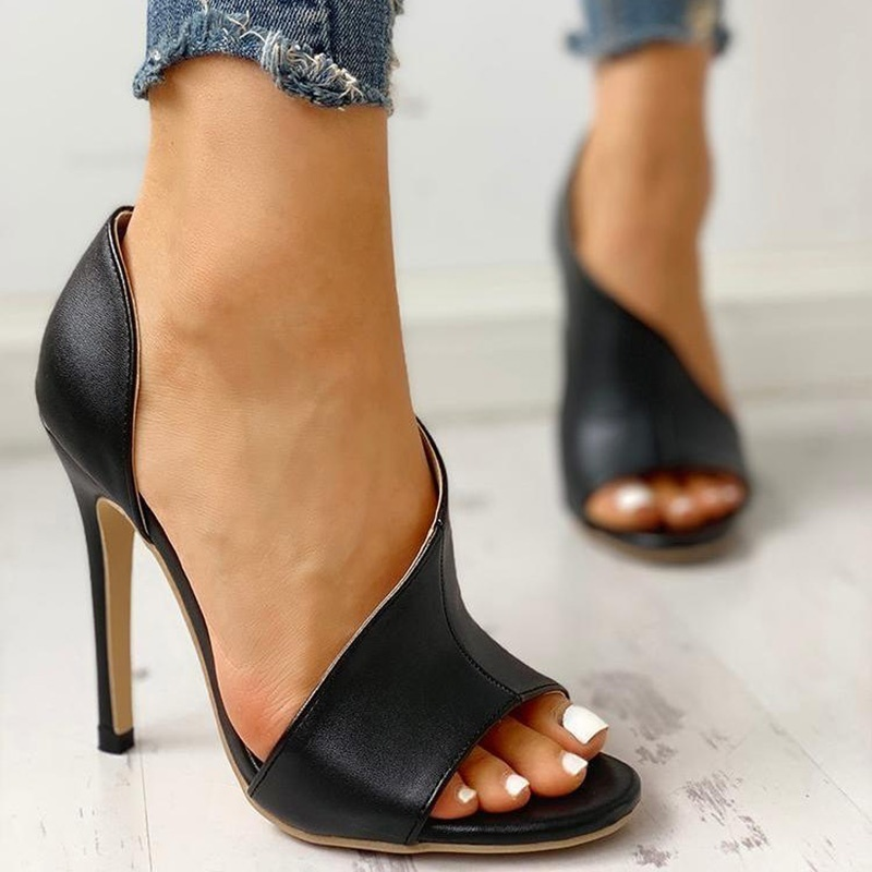 Ladies Summer Sandals Fashion Solid Color Casual Open Toe Super High Heel Fish Head PumpsLadies Summer Sandals Fashion Solid Color Casual Open Toe Super High Heel Fish Head Pumps