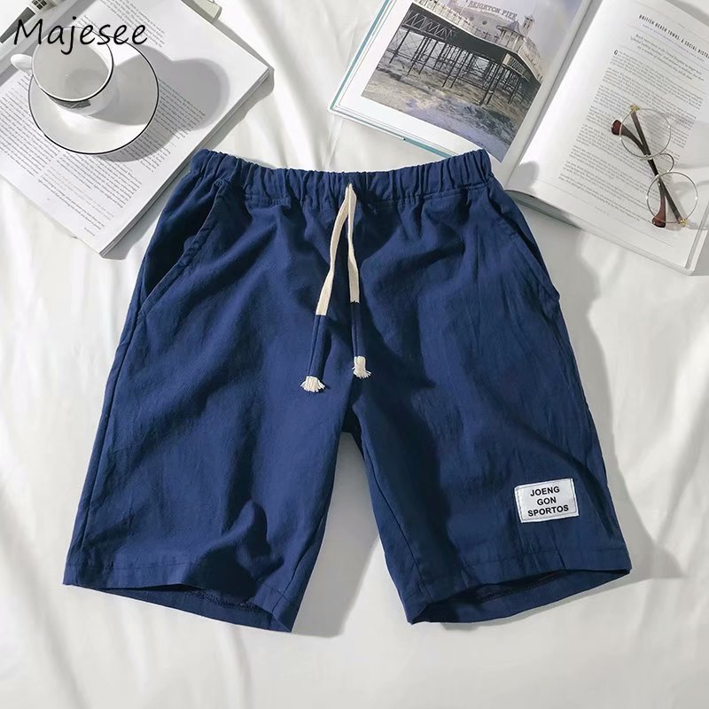 Men's Clothing Qualified Shorts Men Drawstring Loose Knee Length Simple All-match Korean Style Summer Short Mens Soft Daily Breathable Ulzzang Thin Chic