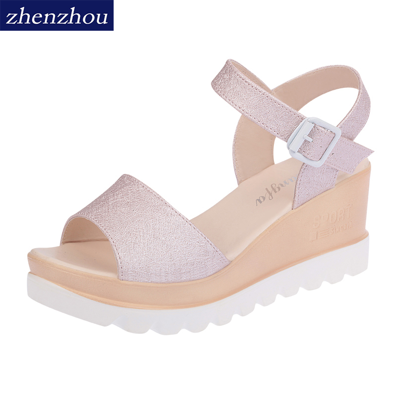 Free shipping 2018 Fashion summer new slope with flat students buckle sandals with the slope with women's shoes 2016 spring and summer free shipping red new fashion design shoes african women print rt 3