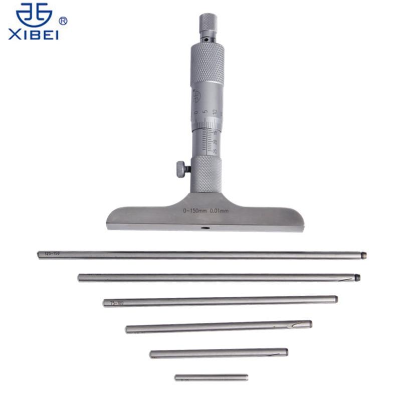 XIBEI Profondità Micrometro 0-150mm/0.01 In Acciaio Inox Metric Micrometri Gauge Con 6 Barre Strumenti di Misura