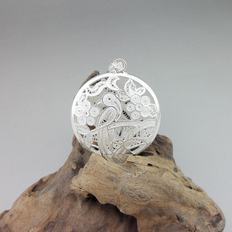 Rond 999 pendentif en argent Sterling hommes amulette Chakra oiseau colliers pendentifs femmes à la main évider Vintage bijoux unisexe