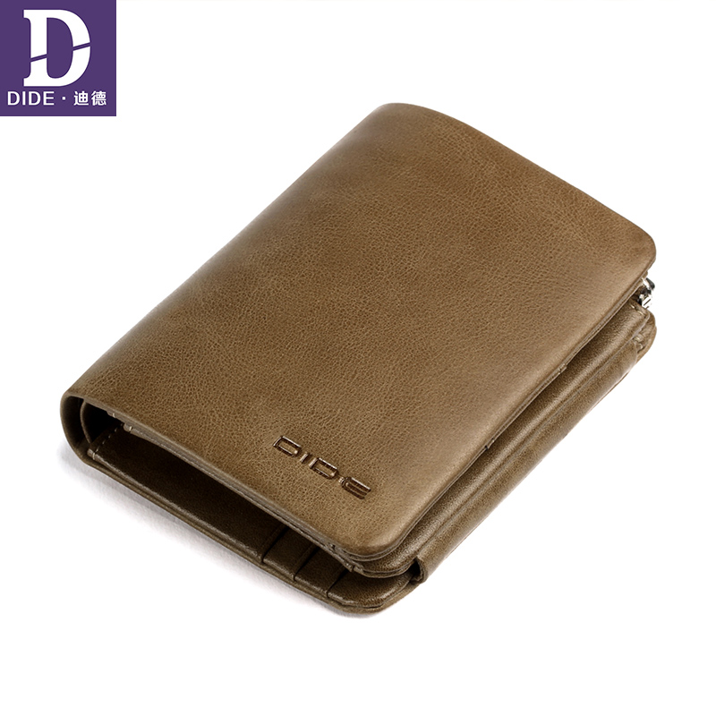 DIDE Clutch Wallet Card-Holder Coin Purse Short Business Zipper Male Genuine-Leather