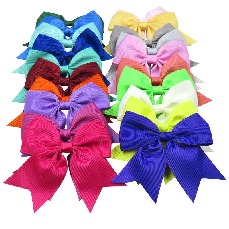 1PCS Solid Swallowtail Ribbon Bow Clips Elastic Hair Bands For Girls Hairpins Scrunchy Korean Kids Hair Accessories For Women