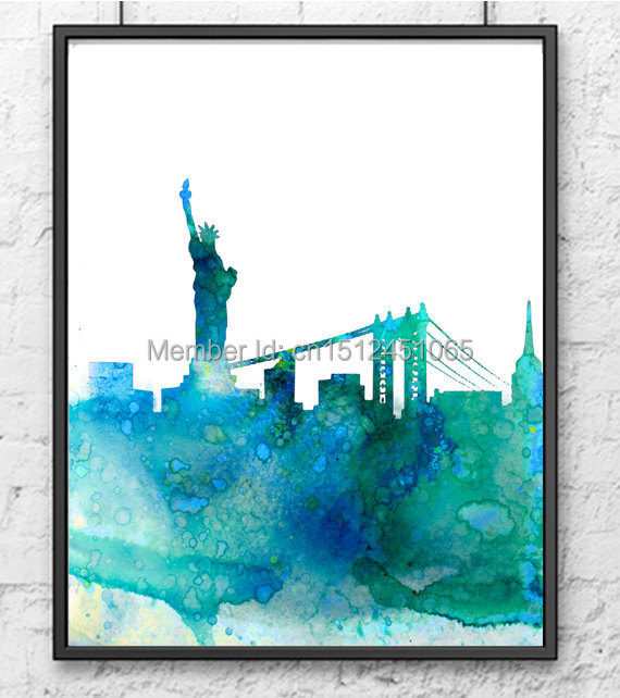 New York City Modern Canvas Painting Print Picture Home: Modern Abstract New York City Skyline Cityscape Wall Art