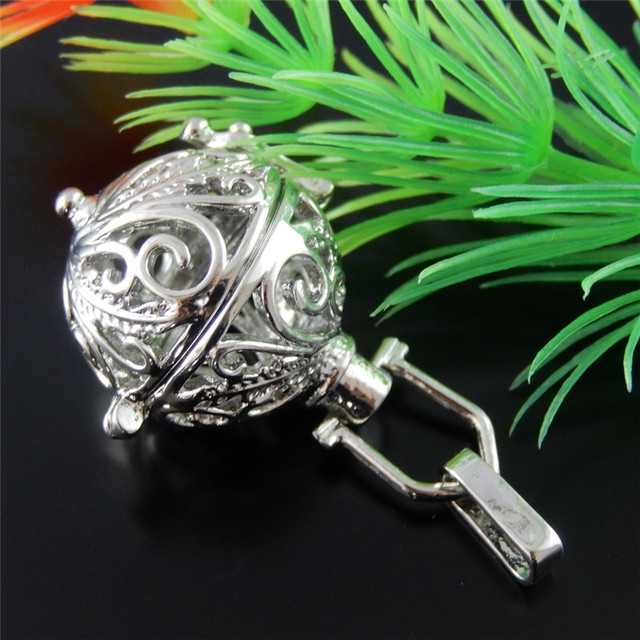Retro Style Antique Silver Tone Round Hollow Charms Wish Box Jewelry