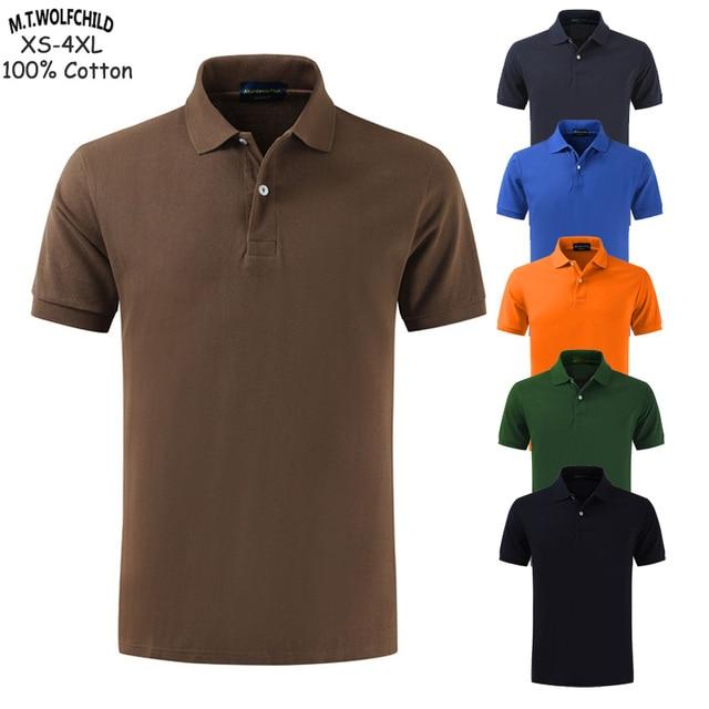 100% Katoenen Top Kwaliteit 2020 Zomer Nieuwe Mannen Polo Shirts Plus Size XS 4XL Effen Kleur Korte Mouw Polo S Homme revers Mannelijke Tops