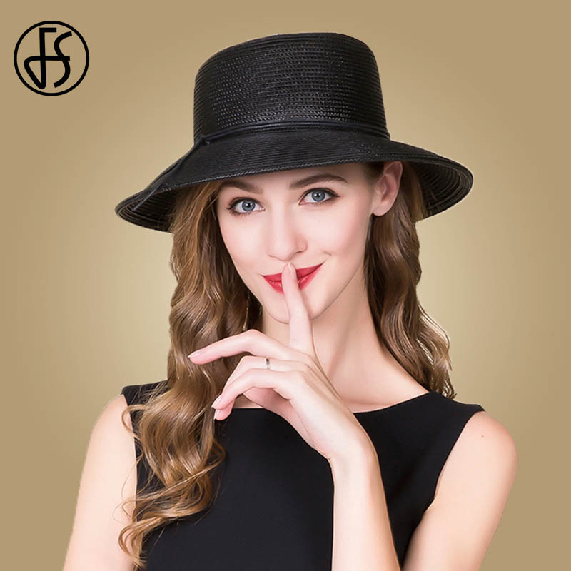 FS Womens Wide Brim Hat Straw Black Ribbon Sun Hats For Girl Outdoor Beach Hat Cloche Floppy Summer Cap Foldable Chapeu Feminino
