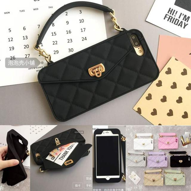 purchase cheap e8bf0 2a697 US $7.69 23% OFF|New Luxury Fashion Soft Silicone Card Bag Metal Clasp  Women Handbag Purse Phone Case Cover With Chain For Iphone 7 6 6S Plus  XS-in ...