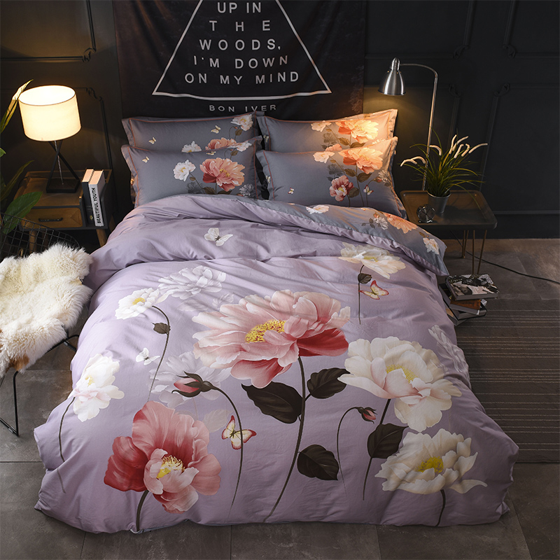 Flowers Painting Lotus Orchid Daisy Bedding Set Queen King Size Cotton Printed Duvet Cover Bed Sheets Home Bedroom TextilesFlowers Painting Lotus Orchid Daisy Bedding Set Queen King Size Cotton Printed Duvet Cover Bed Sheets Home Bedroom Textiles