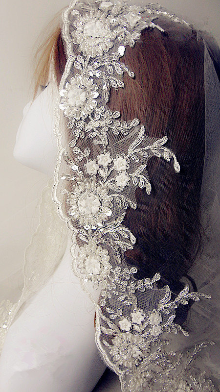 Iovry Alencon Lace Trim Luxury Pearl Beaded Sequined Wedding Embroidered Retro Bridal 5.11 Inches Wide