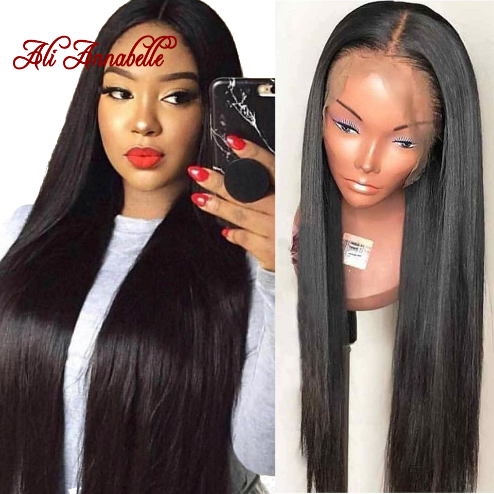 Ali Annabelle 360 Lace Front Human Hair Wigs Pre Plucked Hairline Malaysian Straight Lace Frontal Wigs