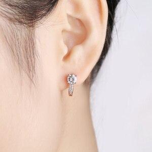 Image 4 - 18 พัน Pure Rose Gold Moissanite คลิปต่างหูผู้หญิง 0.5CT VS G Charles Colvard อัญมณีเครื่องประดับจำลอง diamond Accent