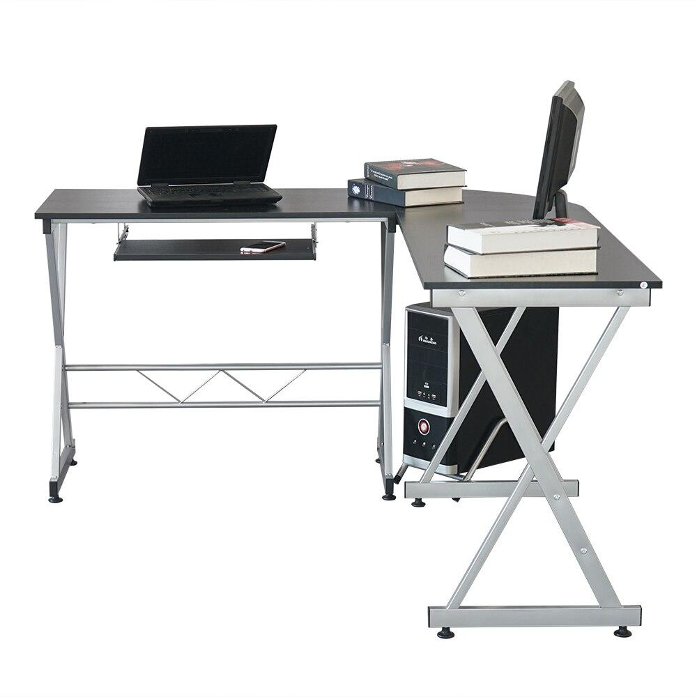 L образный деревянный компьютерный стол угловой стол ноутбук PC стол рабочая станция угловой письменный стол с полками для хранения черный С... - 3