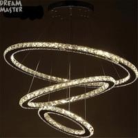 DIY светодио дный подвесной светильник K9 кристалл подвесные светильники для внутреннего дома 3 кольца блеск pendente Сала де Янтарь Свет pendientes