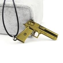 Original New Counter Strike Mens Pistol Pendant Choker Necklace Vintage Gold Hourglass Gun Man Jewelry Souvenir Gift