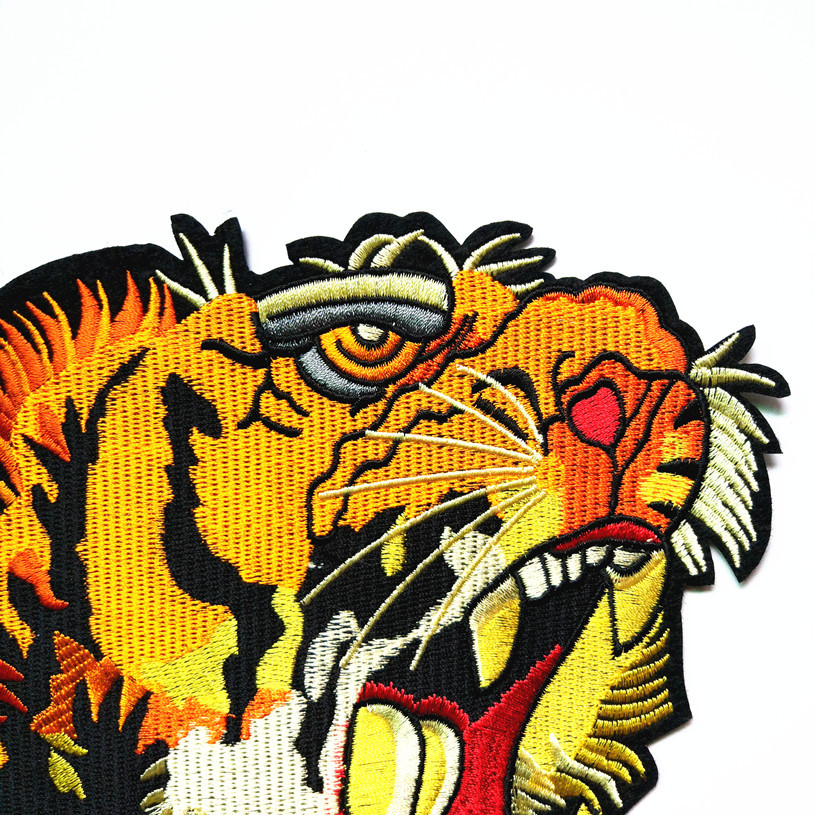 Large Patches Tiger Head Embroidered Sewing Fabric Iron On Clothes Decor Craft