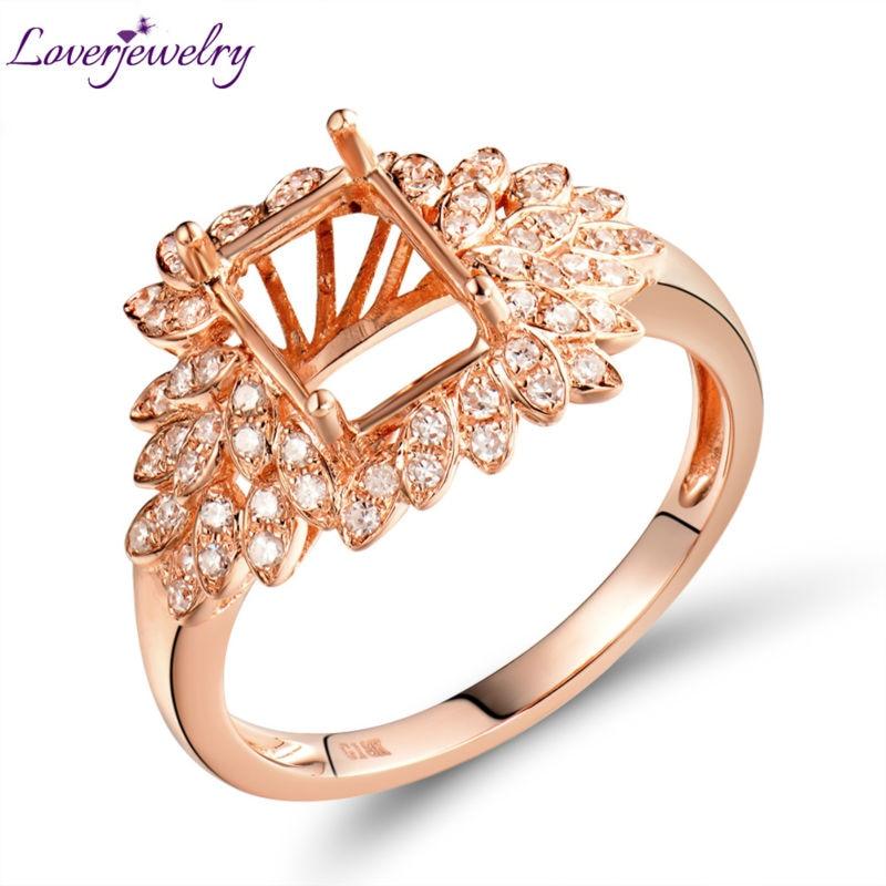 Vintage New Emerald Cut 6x8mm 18Kt Rose Gold Diamond Semi-Mount Ring Beautiful Design for Wedding Jewelry WU297