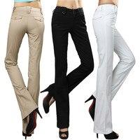 Sıcak 2016 bahar rahat pantolon kadın pamuk kumaş orta bel çan alt rahat pantolon ol batı tarzı pantolon artı boyutu