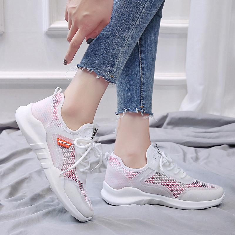 Women Walking Shoes Breathable Mesh Outdoor Casual Lace Up Comfortable Soles Women's Sneakers