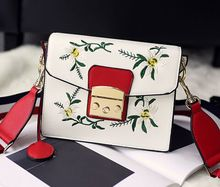 Flower embroidery buckle small square bag, wide ribbon hit the color shoulder diagonal cross bag,women girls lady bags