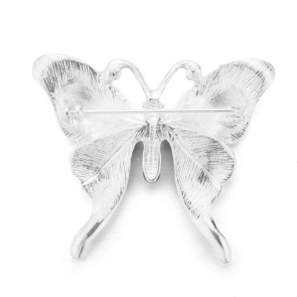 Dalaful Trendy Kupu-kupu Bros Indah Berlian Imitasi Colorful Enamel Syal Gesper Untuk Wanita Pesta Pernikahan Bros Pins Z045