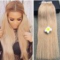 Brillo completo Honey Blonde Hair Brasileño Extensiones de Cabello de Cinta Adhesiva Pegamento de Color 27 Pelo de la Virgen Recta Extensiones de Cabello Real