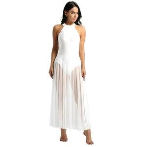 Image 5 - Балетное платье, трико для балета, Женское боди, длинное балетное платье с ложным воротником и сетчатой юбкой макси, танцевальное платье из лайкры