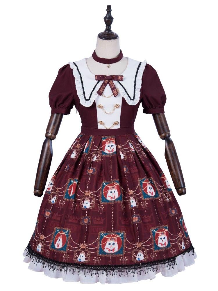 Gothique Lolita une pièce robe chat imprimé dentelle garniture bordeaux manches courtes Lolita robe