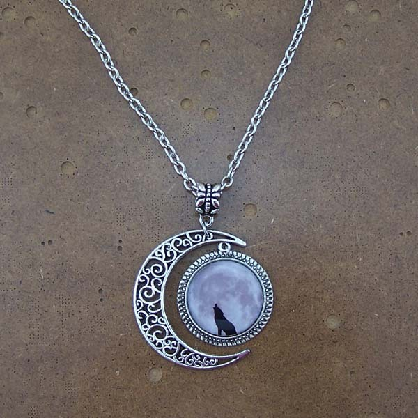Wolf Necklace,wolf jewelry,lonely wolf pendant,dark clouds Pendant,moon necklace,moon charm jewelry,friendship gift,silver,chain