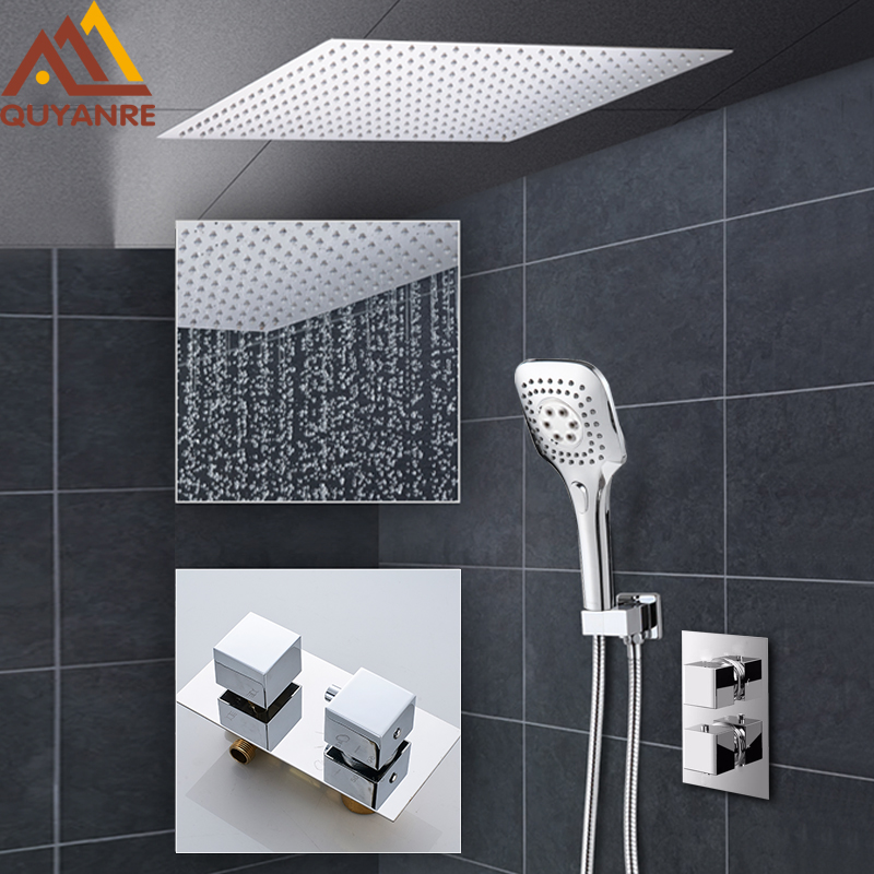 Quyanre 2-way Thermostatic Shower Faucets Set Ultrathin Rain Shower Head 3-way Handshower Single Handle Thermostatic Mixer Tap china sanitary ware chrome wall mount thermostatic water tap water saver thermostatic shower faucet