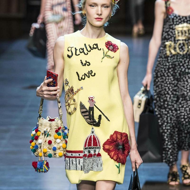 2016 kadınlar Pamuk Elbise Nakış Karikatür Gündelik Elbise - Bayan Giyimi - Fotoğraf 3