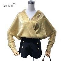 BONU Pearl Button Elegant Lady V Neck Blusas Glitter Loose Tiered Blouses Sweet Chiffon Blouse Office