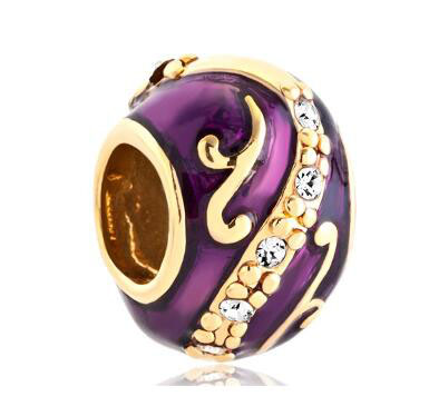 Fit Pandora charm bracelets Silver Plated Purple Faberge Egg Clear Crystal Flower Charm Bracelet beads for jewelry making