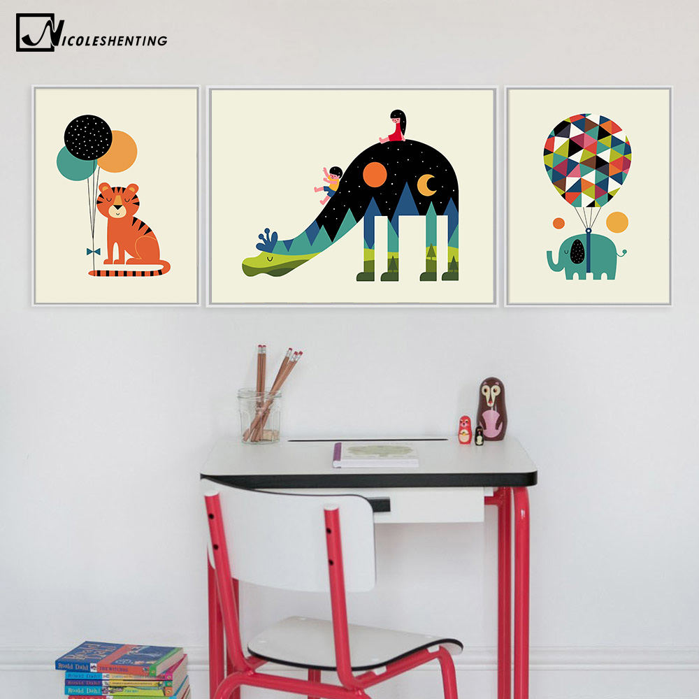 aliexpress com buy nordic art cartoon animal poster elephant
