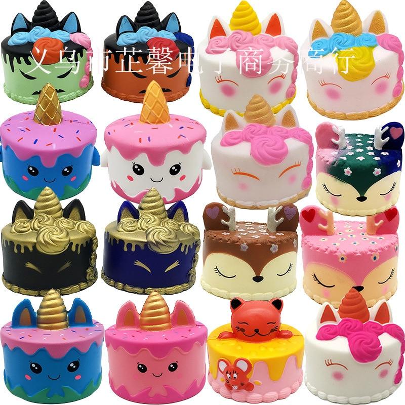 2018 PU Slow Rebound Cake New Squishy Unicorn Cake Decompression Toy Props(China)