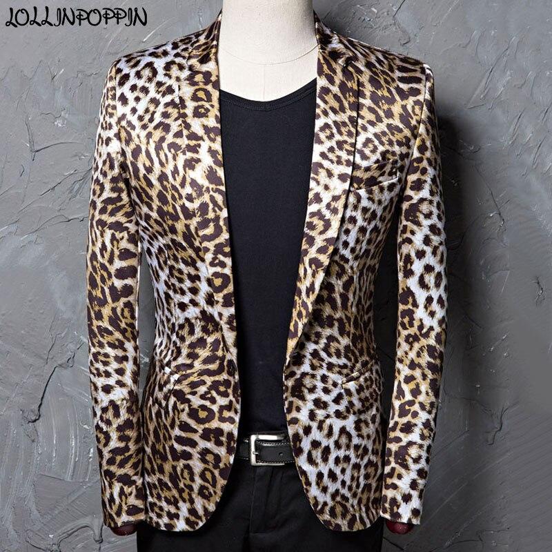 Smart Casual Notched Lapel Men Leopard Blazer Single Button Leopard Print Suit Jacket Male Masculino Casual Blazers