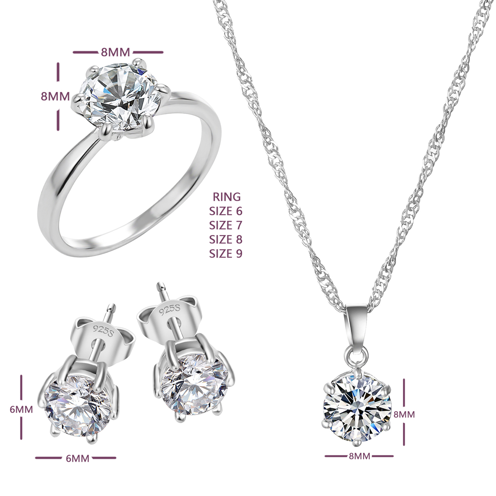 2018 Hot Silver Color Fashion Jewelry Sets Cubic Zircon Statement Necklace Earrings Rings Wedding For Women Gift