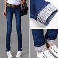 6 EXTRA GRANDE Outono Novos Modelos Duas Algemas Desgastado Calça Jeans Casual Calças Femininas Calças Lápis calças de Brim da Mulher De Cintura Alta Jeans
