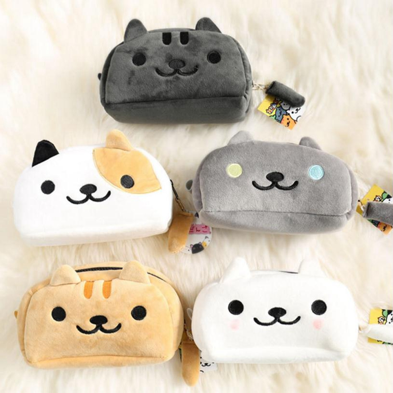 DIY cute super soft short plush cat makeup bag cartoon kitten large capacity student learning pencil case pencil case фонарь эра b27 c0030363